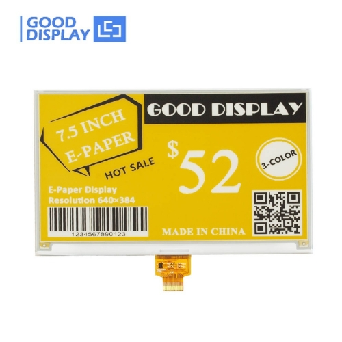 7.5 inch large size three-color yellow e-paper display big eink screen module GDEW075C21
